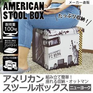スツールボックス スツール 収納 アメリカ ニューヨーク 自由の女神 オシャレ 正方形 オットマン イス収納 たためる 座れる リビング 玄関 96359 toyocase-store