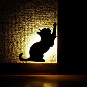 壁面取付猫型音感・照度センサー付きLEDライト ネコのライト フットライト 階段下ライト 電池式 キャットウォールライト2かりかり メーカー直販 93754|toyocase-store
