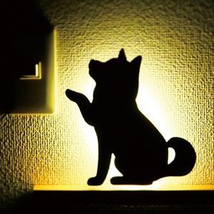 ウォールライト フットライト 音感センサー LEDライト 電池  柴犬 犬 グッズ シバウォールライト お手|toyocase-store