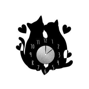 ウォールクロック ステッカー  結婚祝い ネコ インテリア 雑貨 カップル猫|toyocase-store