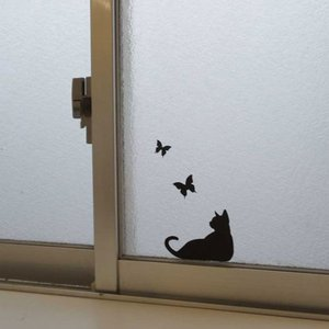 ネコポス 送料無料 ウォールステッカー 貼りはがし可能 ねこステッカー ネコ小物 キャットライフ 蝶|toyocase-store