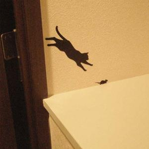 ウォールステッカー 貼りはがし可能 ねこステッカー ネコ小物 キャットライフジャンプ メーカー直販|toyocase-store