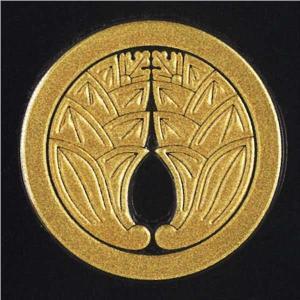 家紋 蒔絵シール 家紋ステッカー 「 丸に抱き茗荷 」 金