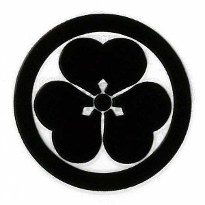 家紋 蒔絵シール家紋ステッカー 「丸に片喰」 黒
