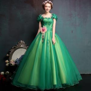 カラードレス 半袖 グリーン 安い ロングドレス...の商品画像