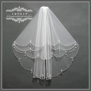 輝いた花嫁にふさわしいウエディングベールです。  サイズ:第1層は60cm 第二層は80cm  階層...