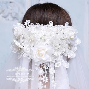 輝いた花嫁にふさわしいウエディングベールです。  サイズ:長さ約160cm  階層:1層  セット内...