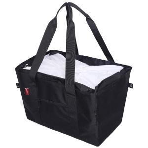 nicoly 保冷 レジカゴバッグ エコ バッグ 肩から提げれる ショッピングバッグ 26L (黒)