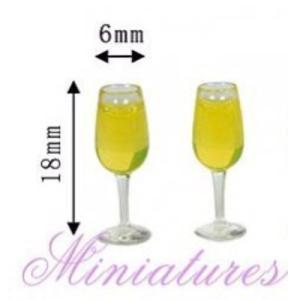 ミニチュア雑貨 シャンパン入りシャンパングラス 2個セット [MWDS14-2][m-s]●【ネコポス配送対応】|toysanta