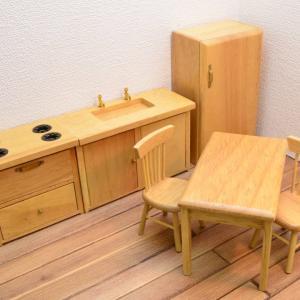 【送料無料】ミニチュア家具 クラシック キッチン家具6点セットB オーク [CLA91006][m-s][imp]【 ネコポス不可 】|toysanta