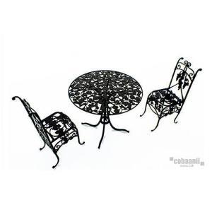 コバアニ cobaanii mokei工房 ロートアイアンファニチャー 1/12スケール アイアン丸テーブルとチェアー 組み立てキット [IF-002] [m-s] 【ネコポス配送対応】|toysanta