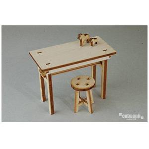 コバアニ cobaanii mokei工房 ウッデンフォルム 1/12スケール 欧風テーブルと丸イス 組み立てキット [WF-002] [m-s] 【ネコポス配送対応】|toysanta