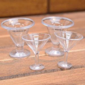 ミニチュア雑貨 アイスクリームカップ 4個セット (プラスチック製) [DM213] [m-s][m-s] 【ネコポス配送対応】|toysanta