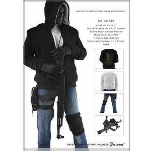 1/6ドール用 メンズ ブラックパーカージャケットセット (CC249)|toyshopside3