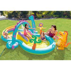 【すべり台付きプール】夏の水遊びには欠かせない!シャワー遊びが楽しめて、恐竜がかわいいビニールプール...