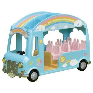 赤ちゃんたちが12人も乗れる、2階建てのようちえんバスです。座席を取り外すとシーソーやすべり台として...