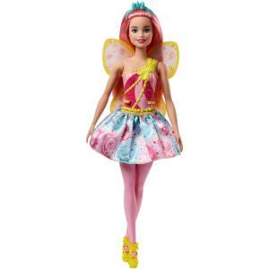 女の子の憧れのバービーがフェアリーに!美しいピンクのヘアで黄色とピンクの羽がついているファンタジック...