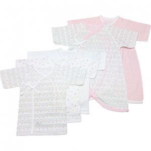 c365d13a29593 ベビーザらス限定 日本製 5枚入り フライス新生児肌着セット(短肌着・コンビ肌着) ねこ(ピンク×50-60cm)