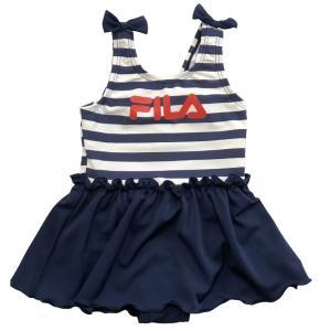 人気ブランドFILAの女児水着!一人でも着脱しやすいワンピースタイプです。 <サイズ>  80cm:...