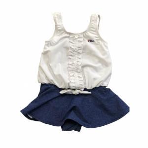 人気ブランドFILAの女児水着!すっきり見えつつ、リボンやフリルで可愛く仕上げています。一人で着脱し...