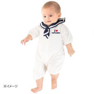 5676136637b48 ベビーザらス限定 アイラブパパママ 半袖ドレスオール セーラー襟付き(ホワイト×50-60cm)