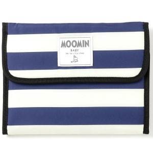 人気ブランドMOOMIN BABYの母子手帳ケースです。ボーダー柄のケースの内布は、とってもかわいい...