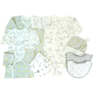 ベビーザらスオリジナルの新生児肌着10点セットです。肌着は伸縮性のあるフライス素材を使用しています。...