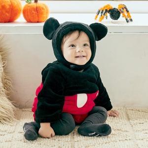 ベビーザらス限定 ディズニー 長袖なりきりたまごオール 帽子付き フリース ミッキー (ブラック×70-80cm) toysrus-babierus