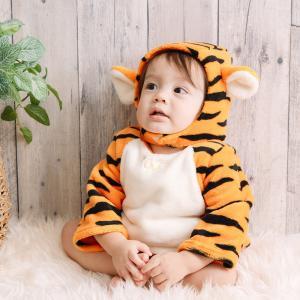 ベビーザらス限定 ディズニー 長袖なりきりたまごオール 帽子付き フリース ティガー (オレンジ×70-80cm) toysrus-babierus