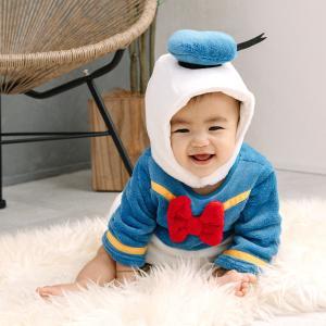 ベビーザらス限定 ディズニー 長袖なりきりたまごオール 帽子付き フリース ドナルド (ブルー×70-80cm) toysrus-babierus