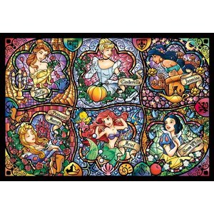 ディズニー ステンドアートジグソーパズル ぎゅっと500ピース ディズニープリンセス ブリリアントプリンセス DSG-500-419|toystadium-jigsaw
