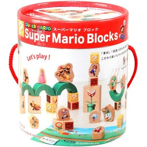SUPER MARIO はじめての木製玩具 マリオブロック Mario Blocks つみき 木のお...