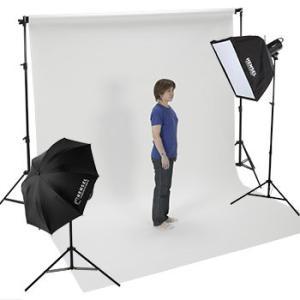 バック紙撮影セット Lサイズ ストロボライト2灯セット(バック紙2.7x11m白付き)|tpc