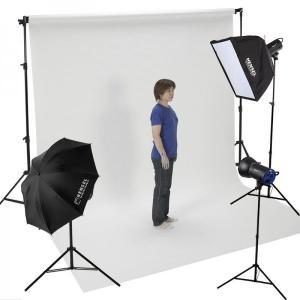 バック紙撮影セット Lサイズ ストロボライト3灯セット(バック紙2.7x11m白付き)|tpc