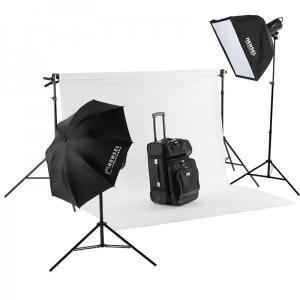 バック紙撮影セット Mサイズ ストロボライト 2灯セット(バック紙1.75x2.7m白付き)|tpc