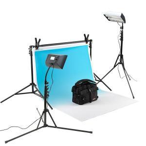グラペ撮影セットSサイズ ボックス蛍光ライトx2付き (w1.1m x 1.58mグラデーション ブルー付き)|tpc
