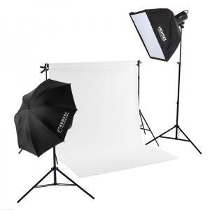 ミニバック紙撮影セットSサイズ ストロボライト2灯付き(w1.35m x 5.5mバック紙 白付き)|tpc
