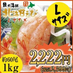 < 船上急冷 > Lサイズ 北海 甘えび 1kg(約60尾)