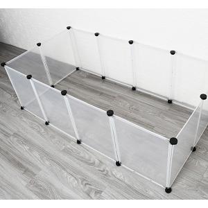 ペットフェンス 12枚セット透明パネル 自由 組み立て 簡単 犬 猫 ペットサークル Lサイズ(約7...
