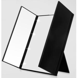 鏡 スタンドミラー 三面鏡 ハート型LEDライト8個付き!|tradewingjapan