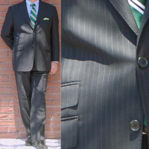 春夏 メンズ スーツ 2パンツ 3つボタン 黒 ストライプ 1509 OXFORD CLASSIC 英国調 チェンジポケット付き|tradhousefukiya