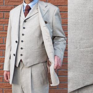 秋冬春 メンズ スーツ 段返り3つボタン スリーピース ベージュ系 9452|tradhousefukiya