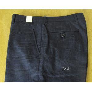 秋冬春 メンズ パンツ 紺 グレンチェック ノータック ビジネス ネイビー second style 0188|tradhousefukiya