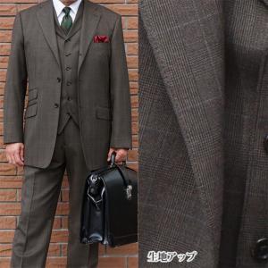 秋冬 メンズ スーツ 段返り3つボタン スリーピース グレンチェック ブラウン オーバーペン TheoDore 0358|tradhousefukiya