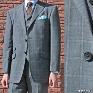 春夏秋 メンズ スーツ 3つボタン スリーピース ミディアム グレー ファンシーチェック CP付 1318 tradhousefukiya