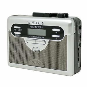 WINTECH ポータブルカセットプレーヤー アラームクロック搭載/AM,FMラジオ付/テープレコーダー/FMワイドバンドモ