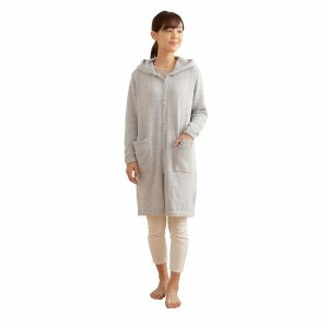 mofua(モフア) 着る毛布 ライトグレー Lサイズ ふんわりニット ロングカーディガン ルームウ...