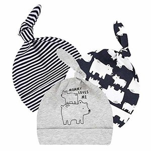 WAYMO-JP ベビー 帽子 新生児 3点セット 0-6ヶ月 100%オーガニックコットン ニット帽 赤ちゃん結び帽 女の子 男の