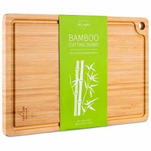 SKY LIGHT まな板 天然竹製 抗菌 溝付き 両面使えるリバーシブルタイプ カッティングボード 多機能 まないた 長|trafstore