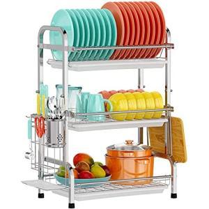 水切りラック 食器 水切り かご SUS304ステンレス製 食器 収納 ディッシュラック キッチン収納ラック 水が流れ|trafstore